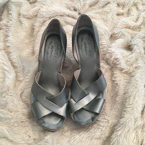 Kork-Ease silver wedge sandal